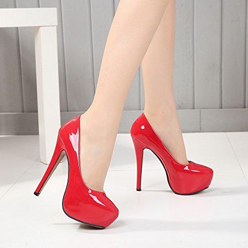 PU High On Stiletto Red Round Toe Platform Pumps OCHENTA Women's Heel Slip w1Tx66