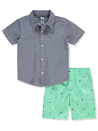 Carter's Boys 2-Piece Button-Front Top and Short Set (2T, Chambray/Blue Green) ()