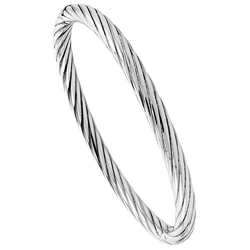 En argent sterling Bracelet jonc torsadé Tube haute poli 1/10,2cm Large