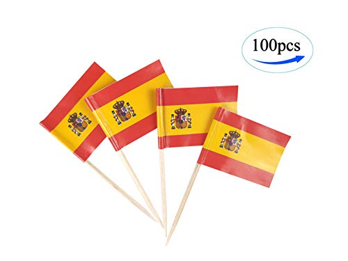 - JBCD Spain Flag Spanish Flags,100 Pcs Cupcake Toppers Flag, Country Toothpick Flag,Small Mini Stick Flags Picks Party Decorations Celebration Cocktail Food Bar Cake Flags