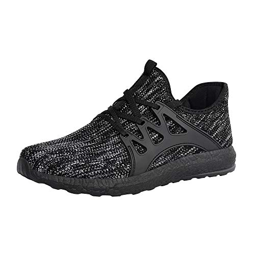 ZOCAVIA Men's Sneakers Ultra Lightweight Breathable Mesh Sport Gym Walking Running Shoes (Grey Black,Size 12.5)