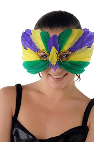 Halloween Costume - Feather Eye Mask - Colourful Ball Face - Green Yellow Purple
