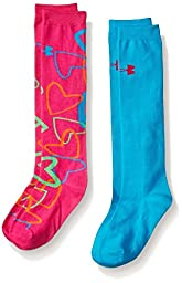 Girl\'s Under Armour Girls Fashion Knee Hi 2Pk, Asst, Youth Large