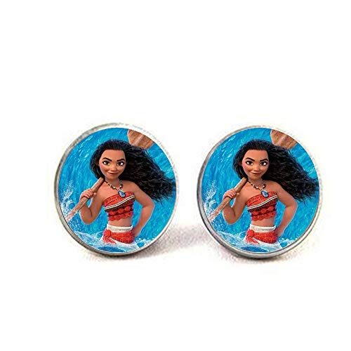 Moana Princess Cartoon Children Necklace Maui Handan Spotted Pig Anime Figures Painting Glass Cabochon Toy Pendant Earrings Literary Jewelry -