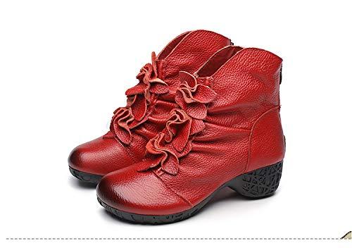 ZHRUI ZHRUI ZHRUI Weiches Leder Stiefeletten Reißverschluss Vintage Block Heels Winterschuhe (Farbe   Rot, Größe   EU 40) 18351d