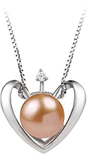 PearlsOnly - Heart Pink 9-10mm AA Quality Freshwater 925 Sterling Silver Cultured Pearl Pendant