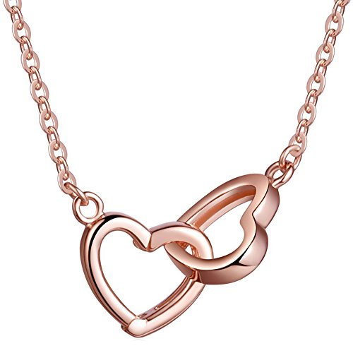 925 Sterling Silver Open Love Double Heart - Y Shaped Adjustable Pendant Necklace Gift for Lover ()