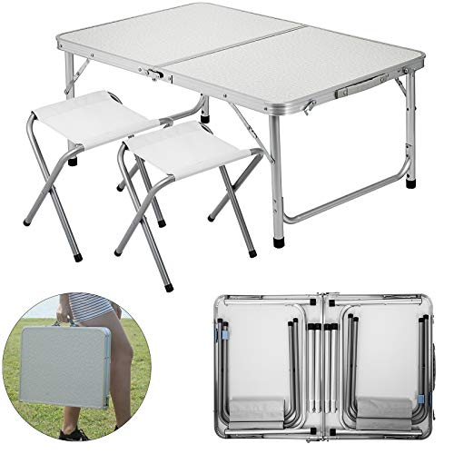 Happybuy Folding Picnic Table White 4 Person Camping Table and Chairs with 2 Benches Portable Table and Chair Set 35.4″ L x 23.6″ W Office Learning Beach Camping Garden Outdoor