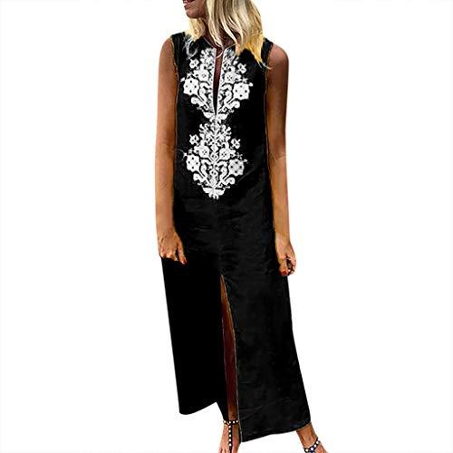 Landscap Women Dress,Summer Casual Printed Sleeveless V-Neck Maxi Dress Hem Baggy Kaftan Long Dress(Black,S)