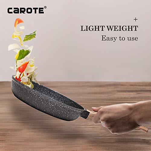 Carote 10 Inch Nonstick Frying Pan Skillet Pan PFOA Free Stone-Derived Non-Stick Granite Coating from Switzerland