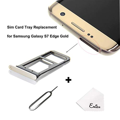 EMiEN SIM Card Tray Slot Holder Replacement for Samsung Galaxy S7 Edge G935 + SIM Card Tray Open Eject Pin (Gold)