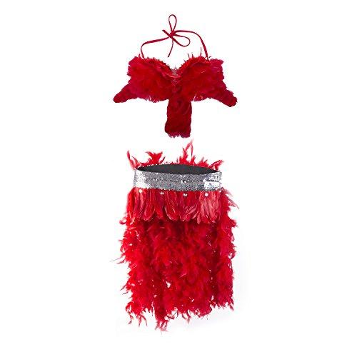 [Women's Brazil Rio Carnival Feather Costume Professional Samba Showgirls Dress, Red] (Brazil Dance Costumes)