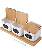 Lawei 3 pack Ceramic Sugar Bowls Set with Spoons and Bamboo Lids - Square Porcelain Condiment Jar Spice Container for Sugar, Serving, Spice, Salt