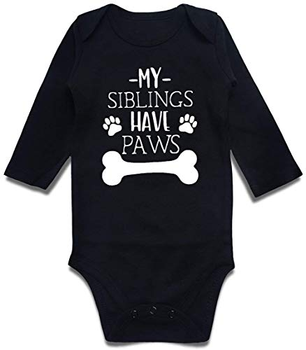 Hilarious Humor Pattern Bodysuit Long-Sleeve Rompers Lovely Saying About My Siblings Have Paws Baby Cute One Piece Jumpsuit for New Mom Pregnancy Announcement Gender Revel Party 0-3 Months