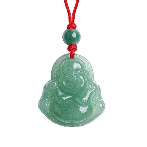 iSTONE Unisex Maitreya Buddha Pendant Necklace Bodhisattva Amulet Talisman Made of Aventurine Gemstone