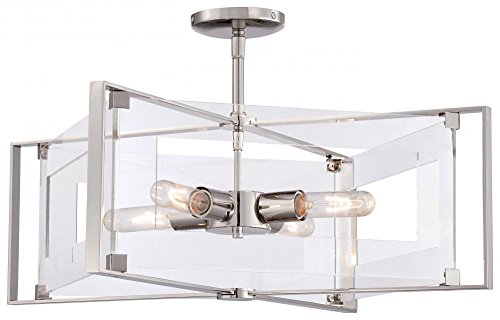 (George Kovacs P1403-613 Four Light Pendant, Convertible to Semi Flush)