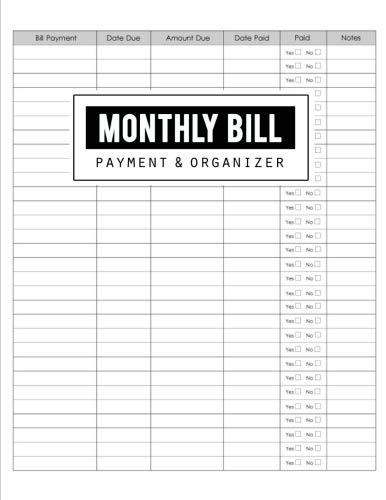 Monthly Bill Payment & Organizer: Money Debt Tracker, Simple Home Budget Spreadsheet, Budget Monthly Planner, Planning  Budgeting Record, Expense Finance, Size 8.5 x 11 ()
