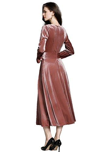 Hochzeit V Cocktailkleider Midi Elegante Ausschnitt Damen Abendkleider Samt Ballkleider Rose 90s Langarm Ababalaya Brautjungfer qSAwxvcH1n