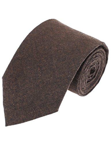 FLATSEVEN Mens Designer Classic Solid Color Neck Tie Cotton (YA006) - Tie Brown Solid
