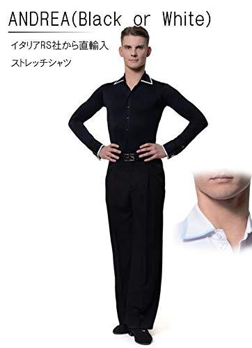 (アールエスアトリエ) RS Atelier 「Andrea(ブラック or ホワイト)(ストレッチシャツ)」|男性用ボディシャツ| 社交ダンス|レッスンウェア|ダンス|メンズ|男|男性|シャツ B0747QJX71 Black 15(38cm)サイズ