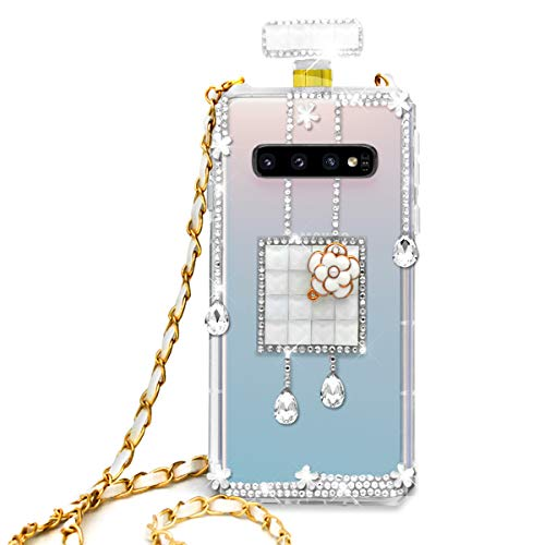 (Omio for Galaxy S10 Plus Diamond Case Luxury Bling Crystal Rhinestone Shell for Galaxy S10 Plus Glitter Cover Shiny Perfume Bottle with Chain String Shockproof Anti-Scratch Clear Case for Galaxy S10+)