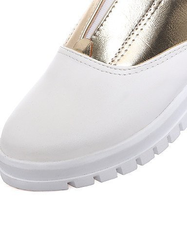 Donna Scarpe Finta ShangYi Casual Piatto Mocassini Silver Dorato Punta bicolore Ballerine Bianco Argento pelle Comoda 1a5x5qw