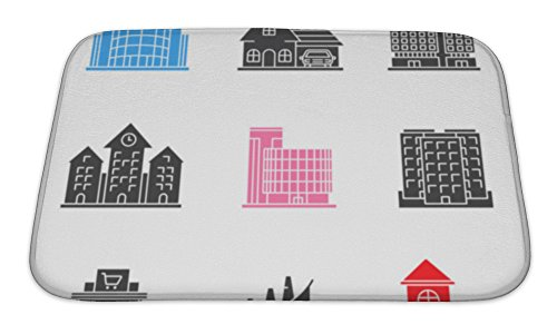 Gear New Memory Foam Bath Rug, Buildings Icons Set, 24x17, - Place Mall Directions Carolina