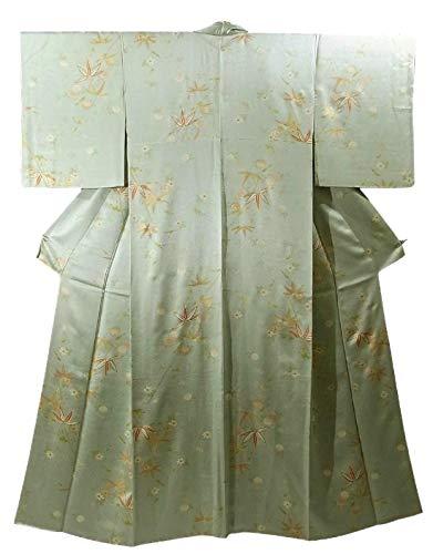 リサイクル 着物 正絹 袷 小紋 エレガント 四季花文 裄64.5cm 身丈168cm