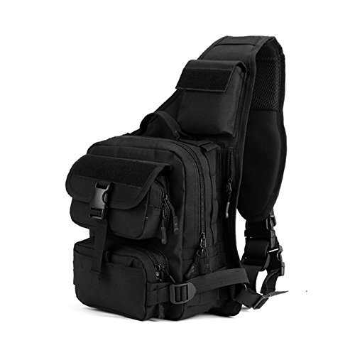 X-Freedom Military Sling Chest Backpack Tactical Daypack Chest Pack Bag Molle Ipad Laptop Bag One Strap Backpack Large Crossbody Shoulder Bag Sports Motorcycle Ride Bicycle Single Bag, - Vice Metal Black