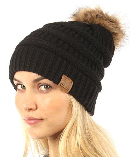MIRMARU Womens Soft Stretch Cable Knit Warm Skully Faux Fur Pom Pom Beanie Hats
