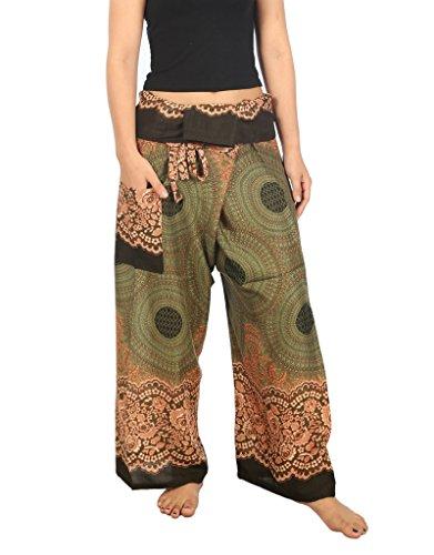 Lannaclothesdesign Women's Thai Fisherman Pants Yoga Trousers Wide Legs Pants (one Size, Green) by Lannaclothesdesign