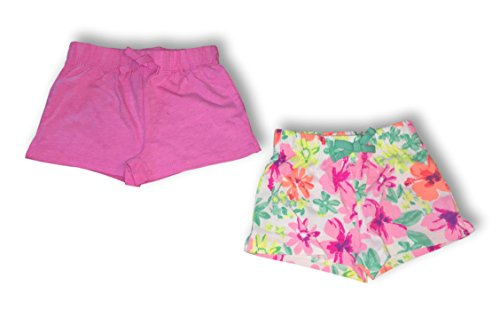 WonderKids 2 Pack Baby Girls & Toddler Terry Knit Summer Activity Shorts (Pink & Bright Floral, - Shorts Bright Terry