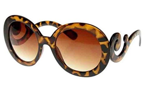 Brown TORTOISE Womens Designer Inspired Round Fashion Sunglasses Baroque - Sunglasses Round Baroque