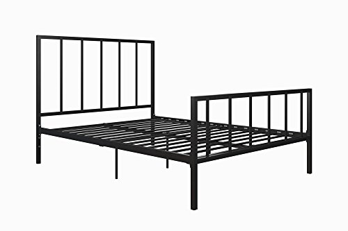 DHP Stella Metal Bed with Sturdy Metal Frame and Slats, Black, Full by DHP