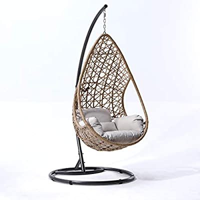 Cherry Tree Rattan Effect Egg Basket Hanging Chair and Cushion