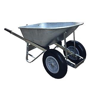 Heavy Duty 120L Double Wheelbarrow Galvanised Puncture Proof