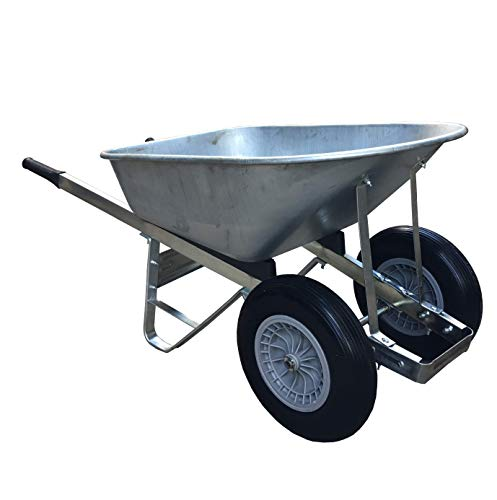 Heavy Duty 120L Double Wheelbarrow Galvanised Puncture Proof