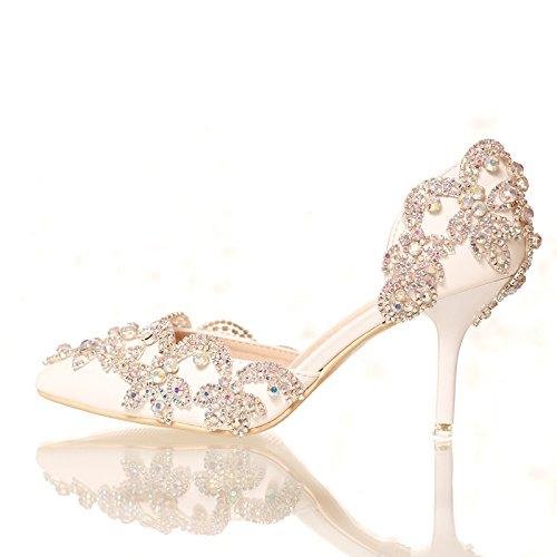 Si& Hochzeitsschuhe der Frauen / Brautjungfer und Braut / Strass Blumen / Stiletto Ferse / spitze Zehe / High-heels Sandalen Weiß