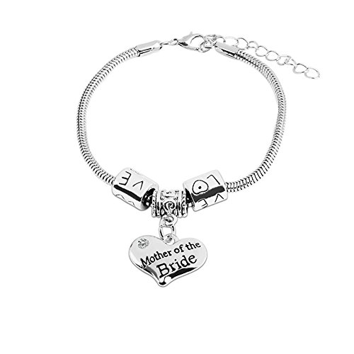 Bling Stars Family Love Clear Crystal Mother of the Bride Heart Charm Snake Chain Bracelet Family Members Jewelry ()