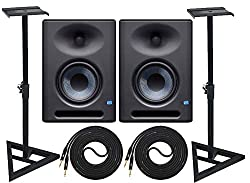 PreSonus Eris E5 XT Pair 2-Way Studio Monitors with EBM Wave Guide Design and Adjustable Stable Stands with 2 Cable Set