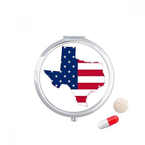 Texas USA Map Stars Stripes Flag Shape Travel Pocket Pill case Medicine Drug Storage Box Dispenser Mirror Gift