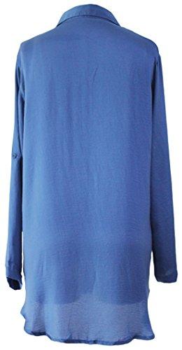 erdbeerloft - Damen Langarm Blusenkleid, Blau, One Size