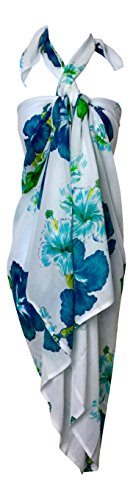 LuluVin Women's Beach Sarong Pareo Cover Up With 2 Hair Ties (Green Hibiscus With Hair Ties) (Sarong Tie)