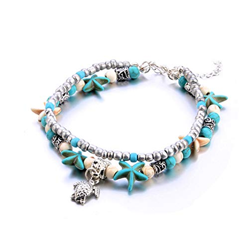 Lovogue Starfish Elephant Turtle Turquoise Anklet Bracelet Bohemian Shell Conch Beach Foot Chain Barefoot Sandal Adjustable for Women and Girls (Turtle) ()