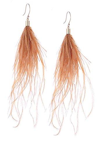Yellow Feather Light (Badu Feather Women Earrings Bohemian Long Drop Black Light Wedding Accessories (Yellow, gold-plated-copper))