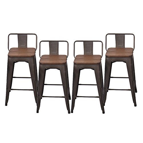 Low Back Bar Stool (Changjie Furniture Pack of 4 Low Back Gunmetal Counter Bar Stool Indoor-Outdoor Bistro Cafe Bar Stools (26 inch, Low Back Wooden))