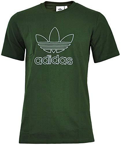 adidas Originals Mens T Shirt Outline Crew Neck Trefoil Logo Tee Night Cargo DH5785 New (Medium) - Outline Logo Tee