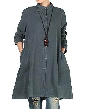 6a4de610bbf4c0 Vogstyle Women s Autumn Cotton Linen Full Front Buttons Shirt Dress with  Pockets X-Large Navy