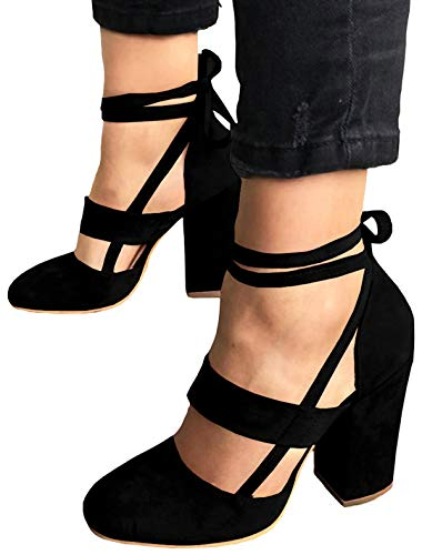 Closed Heels Toe (PRETTODAY Women Sexy High Heel Pumps Pink Color Suede Straps Thick High Heeled Shoes (10, Black))