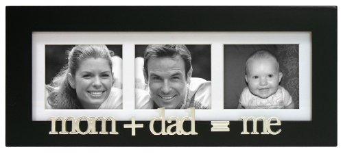 Malden International Designs Mom+Dad=Me Wood Matted Tabletop Collage Picture Frame, 3 Option, 3-4x4, Black